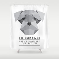 schnauzer Shower Curtains featuring The Schnauzer by The Origami Pet Collection