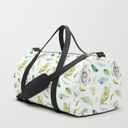 Hand painted green watercolor cute turtle animal floral Duffle Bag