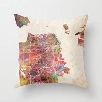 san francisco Throw Pillows featuring San Francisco map by MapMapMaps.Watercolors