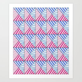 Symetric triangle 1 -vichy, gingham,strip,triangle,geometric, sober,tartan,mandala Art Print