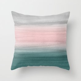 Touching Teal Blush Gray Watercolor Abstract #1 #painting #decor #art #society6 Throw Pillow