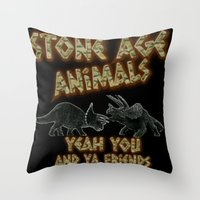 queens of the stone age Throw Pillows featuring Stone age Animal by lilbudscorner