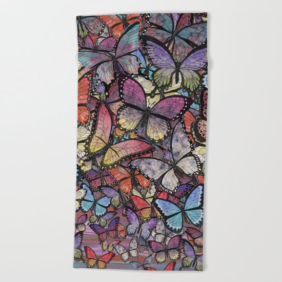 butterflies aflutter colorful version Beach Towel