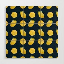 Watercolor Lemon Pattern Wood Wall Art