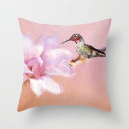 Spring Hummer Throw Pillow