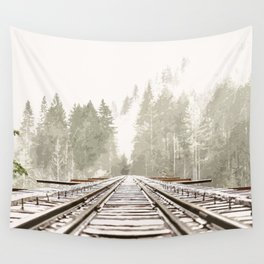 Railway in the forest Wall Tapestry