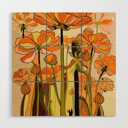 70s, Orange California poppies, mid century, 70s retro, flowers Wood Wall Art