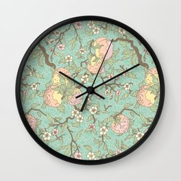 Peaches and Blossoms Wall Clock