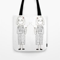 tenenbaums Tote Bags featuring the royal tenenbaums - margot by sharon