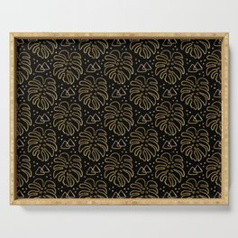 Gold Monstera on Black Serving Tray