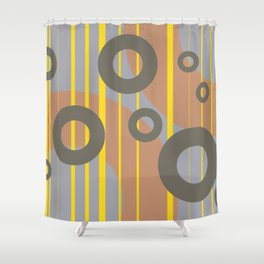 Rings and Lines in Yellow grey orange Colors Shower Curtain