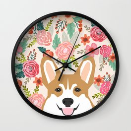 Welsh Corgi cute flowers spring summer garden dog portrait cute corgi puppy funny god illustrations Wall Clock