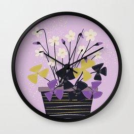 Houseplant Print No 2 (purple) Wall Clock