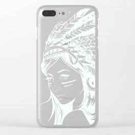 Moon Child Goddess Bohemian Girl Clear iPhone Case