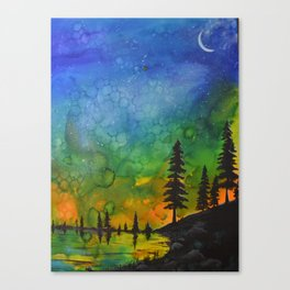 Northern Lights (moon right side) Canvas Print