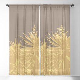 Mustard yucca leaves on toffee background Sheer Curtain