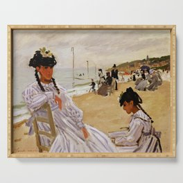 On the Beach at Trouville by Claude Monet Serving Tray
