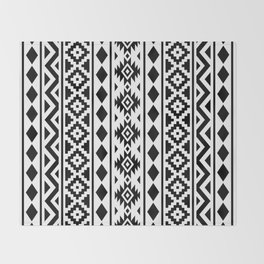 Aztec Essence Ptn III Black on White Throw Blanket