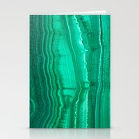 malachite Stationery Cards featuring Malachite Stone by BrooklynThread