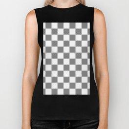 Checkered - White and Gray Biker Tank
