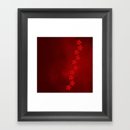 Flowers in vivid red on grunge texture Framed Art Print