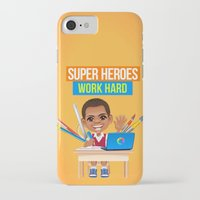 super heroes iPhone & iPod Cases featuring Super Heroes Work Hard by youngmindz