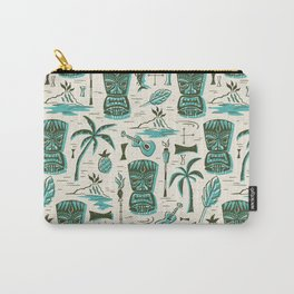 Tropical Tiki - Cream & Aqua Carry-All Pouch