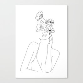 Minimal Line Art Woman with Flowers Canvas Print