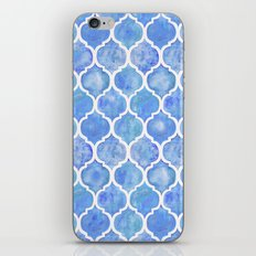 Cornflower Blue Moroccan Hand Painted Watercolor Pattern iPhone & iPod Skin