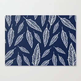 Dark blue and white falling feathers Canvas Print