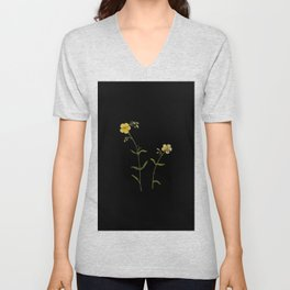 Cistus Helianthemum Mary Delany Delicate Paper Flower Collage Black Background Floral Botanical Unisex V-Neck