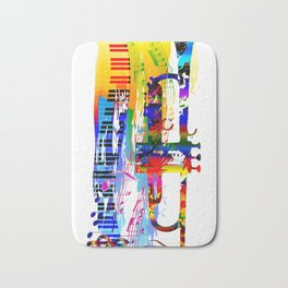 Abstract colorful music instrument painting.Trumpet, piano, musical notes, color splash, treble clef Bath Mat