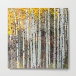 Northern Birch Forest Painting Metal Print