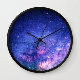 Blue Purple Night Sky, Universe, Galaxy Wall Clock