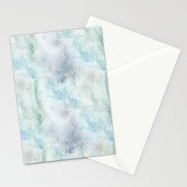 Pastel lavender teal white watercolor splatters Stationery Cards