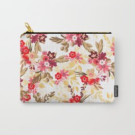 Pastel pink red brown modern hand drawn fall floral illustration Carry-All Pouch