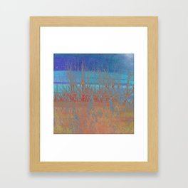 Modern abstract blue red orange tree branches stripes Framed Art Print