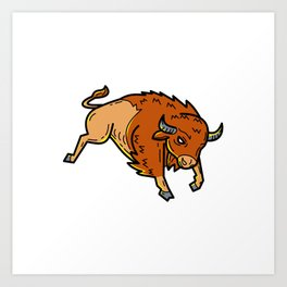 American Buffalo Jumping Mono Line Art Print