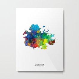 Antigua Watercolor Map Metal Print