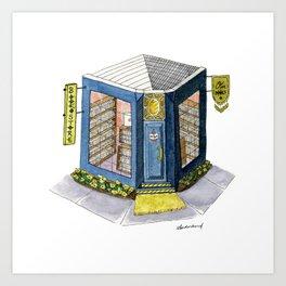 Our Books Bookstore - Christmas Village Art Print