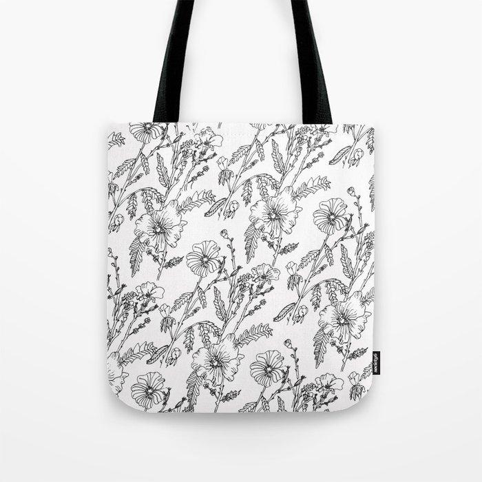 Black-White Flower Pattern Tote Bag
