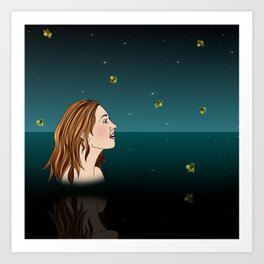 Swimming With Fireflies Art Print