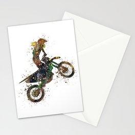 Girl Motocross Dirt Bike Colorful Watercolor Supercross Art Stationery Cards