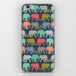 baby elephants and flamingos iPhone Skin