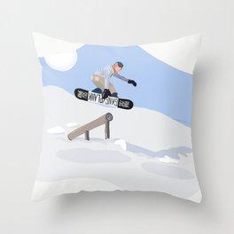 Graphic Snowboarding Art Throw Pillow