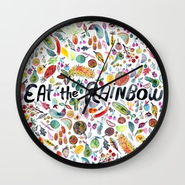 EAT THE RAINBOW Colorful Watercolor Veggies Fruits Wall Clock