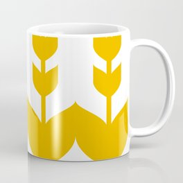 Scandinavian Minimalist Leaf Floral Pattern - Yellow Coffee Mug