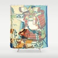 samurai Shower Curtains featuring Samurai by Hungry Dragon