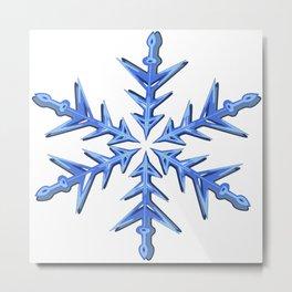 Minimalistic Ice Blue Snowflake Metal Print