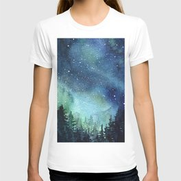 Galaxy Watercolor Aurora Borealis Painting T-shirt
